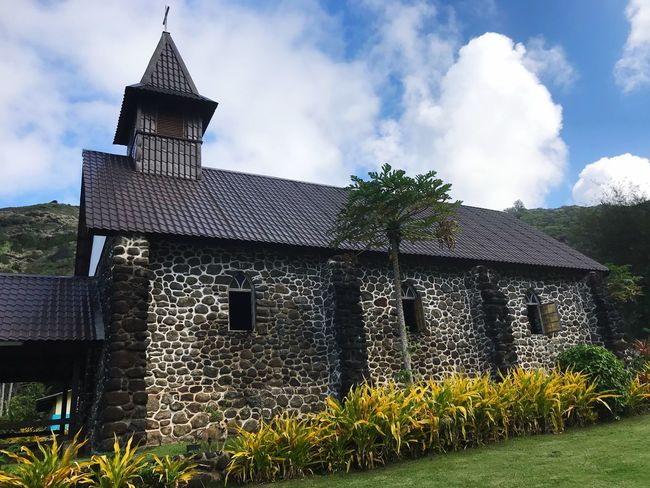 Stone church in Ta'aoa, Hiva Oa, Marquesas Islands, French Polynesia Catholic Church Old Building  Rock - Object Rock Church French Polynesia Hiva Oa Marquises Marquesas Islands Must See In Hiva Oa Beautiful Church Stone Walls Stone Church Architecture Building Exterior Built Structure Cloud - Sky Building Sky Plant History No People Place Of Worship The Past Old