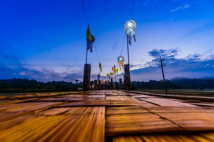 bamboo bridge over the rice field Morning Wooden Bridge Nightphotography Thailand Bamboo Bridge Sky Cloud - Sky Countryside