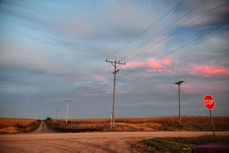 Telephone poles on landscape against cloudy sky during sunset