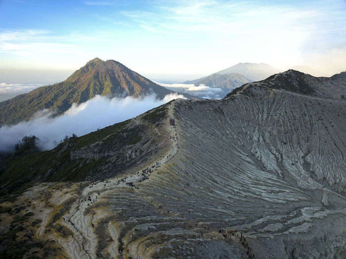 Aerial view of ijen crater