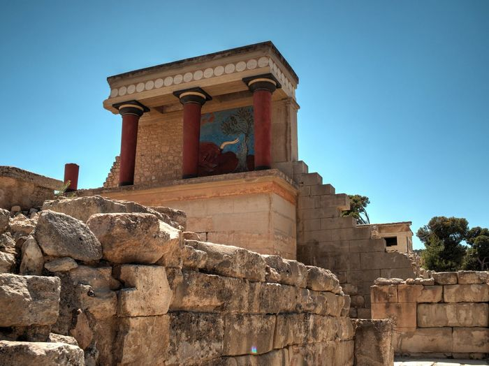 Ancient Ancient Civilization Architectural Column Architecture Blue Built Structure Clear Sky Column Day Historic History Knossos Knossos Palace Low Angle View No People Old Old Ruin Outdoors Sky Stone Stone Material Sunny The Past Tourism Travel Destinations
