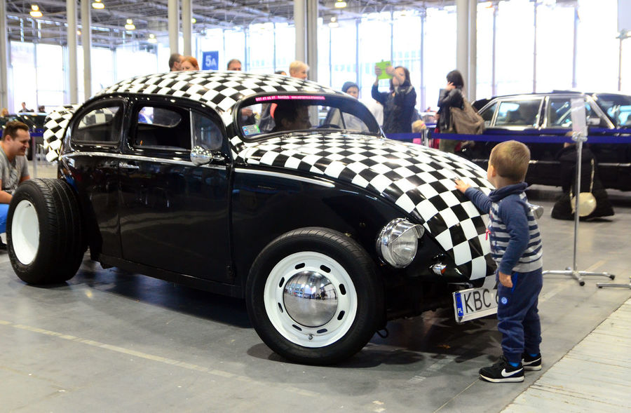 Beetle Car Car Expo Chequered Kid Land Vehicle Men Real People Standing
