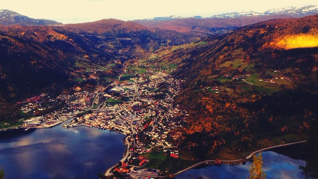 I Love My City Sogndal Sogn Og Fjordane Norway City View Mountain View Fjord Autumn