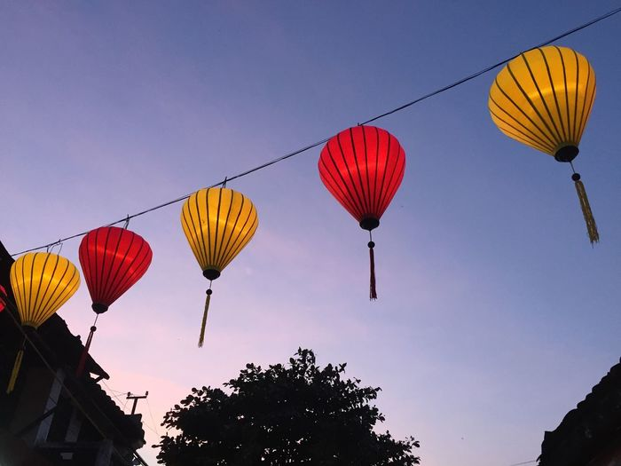 Blue Cable Celebration Chinese Lantern Colorful Cultures Day Decoration Hanging Hot Air Balloon Lamp Low Angle View Multi Colored Nature No People Outdoors Red Sky Tradional Art Traditional Culture