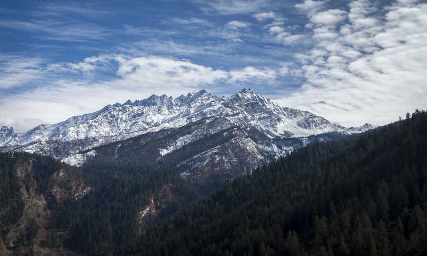Scenic View Of Snowcapped Himalayas Against Cloudy Sky