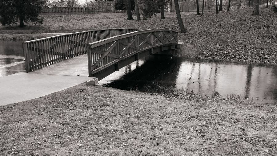 Wooden Bridge Decatur, IL Decatur Il Fairview Park Grass Water Pond Simple Photography Simplicity Bridge Wooden Bridge Wooden Bridge Over Water Trees Wood Simple Lines Lines Blackandwhite Black And White Shadow Day Outdoors Bridge - Man Made Structure No People Water Nature