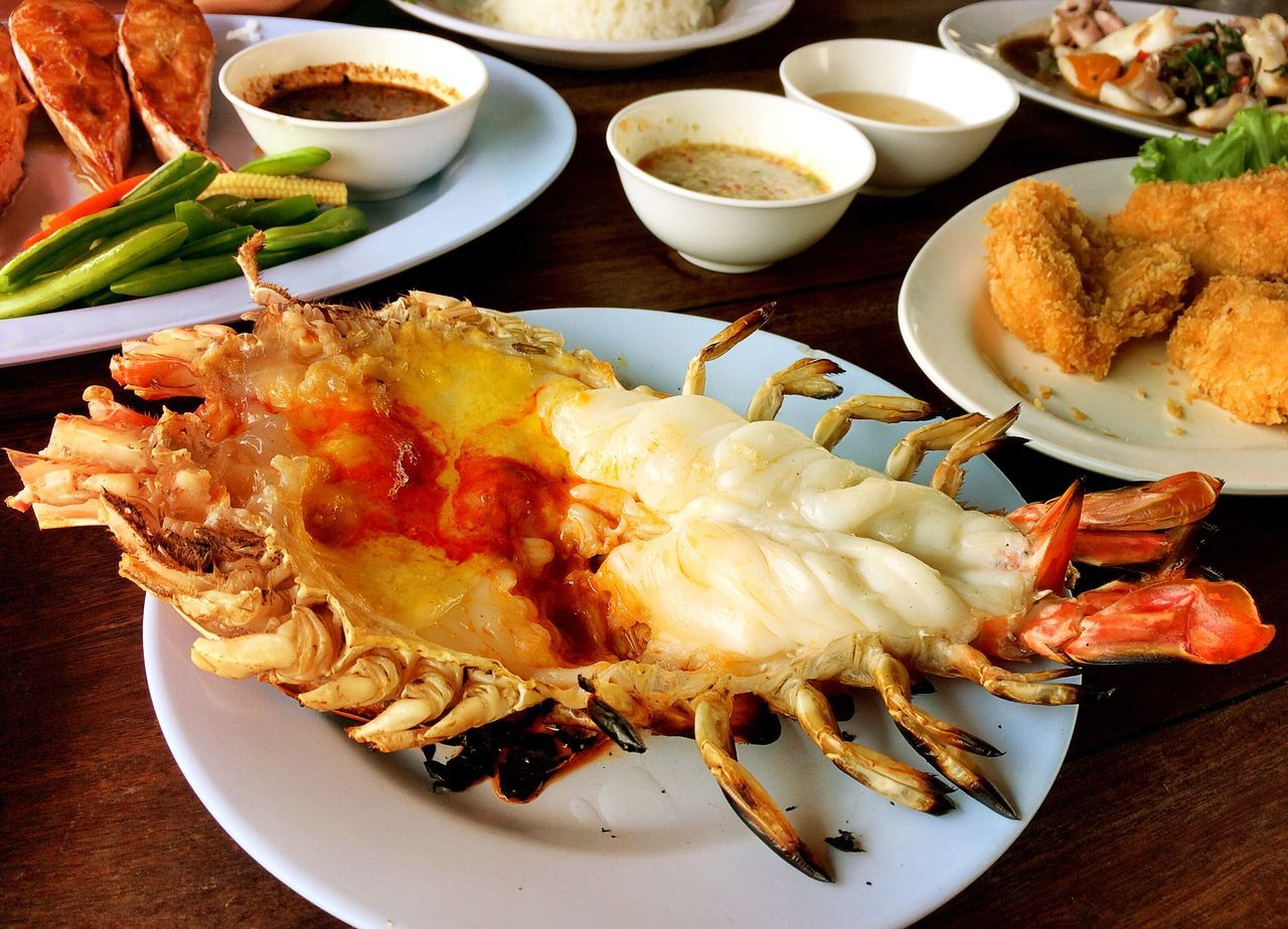 Close-Up Of Seafood Served On Table