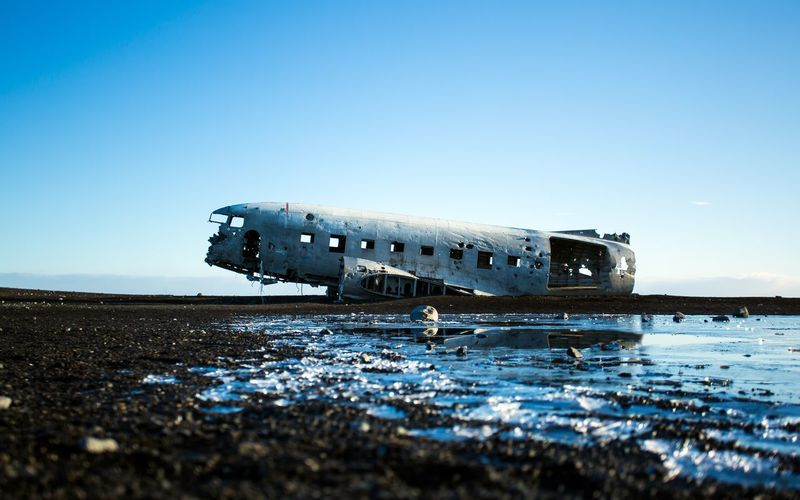 Plane Crash Site, Iceland Mountain_collection Vik Iceland Whyiceland Explore Nature Landscape_photography Landscape_Collection Nature_perfection EyeEmBestPics Iceland Sky Water Nature Clear Sky Copy Space Transportation Mode Of Transportation Land No People Deterioration