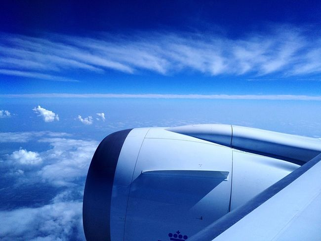 Transportation Part Of Blue Mode Of Transport Cloud - Sky From An Airplane Window Flying High Flying Dreamliner Traveling Two Is Better Than One