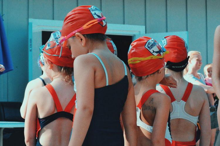 Water Friendship Togetherness Fun Multi Colored Swimming Pool Bikini Young Women Standing Swimwear The Week On EyeEm Editor's Picks