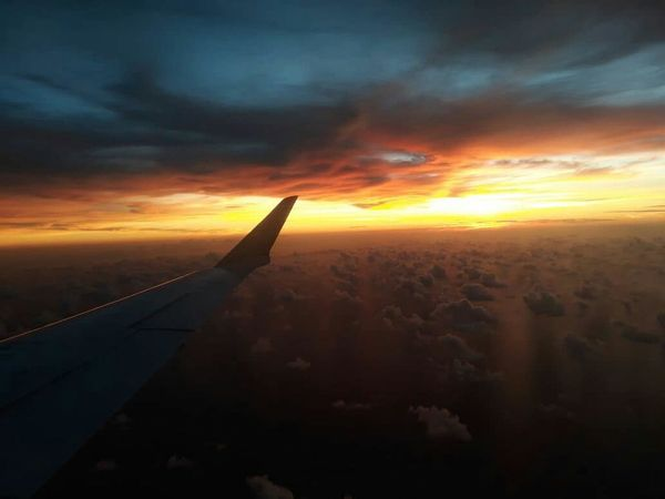 Airplane City Aerospace Industry Flying Sunset Cityscape Aerial View Aircraft Wing Business Finance And Industry Sky Plane Atmospheric Mood Airplane Wing Forked Lightning Cloudscape
