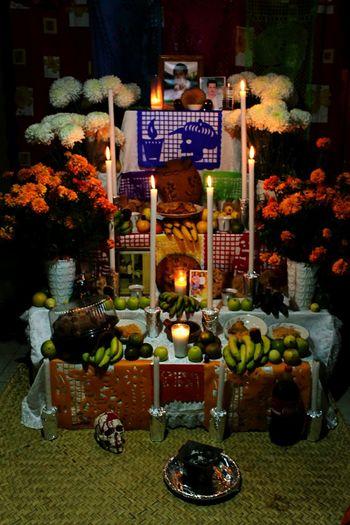 Vida. Night Celebration Food Table Spirituality Market No People Illuminated Flower OfrendaFamiliar Ofrenda Al Dia De Muertos Dia De Muertos México Tradition Tradicionesmexicanas Mexico Arts Culture And Entertainment Indoors  Cityscape