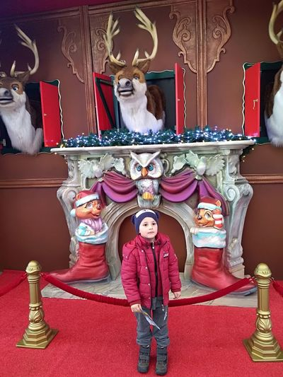 Happy moments Santa Claus Is Coming To Town  Reindeer ❤️ Christmas Ornament Ornamented Facade Beautiful Scene Red Background Winter Time December Portrait Full Length Looking At Camera Confidence