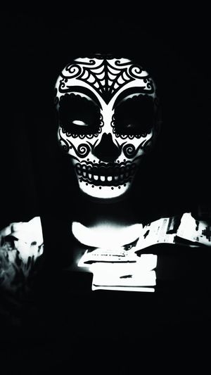Day of the dead Day Of The Dead Black And White Halloween Mask Halloween Halloween Costume Mask Day Of The Dead Skull Skull Scary Face Scary Mask Noir Darkness Horror Spooky Creepy human skeleton Evil Shadow And Light Light And Shadow Darkness And Light No People On A Shelf Face Mask Face Scary Face EyeEm Best Shots The Portraitist - 2017 EyeEm Awards