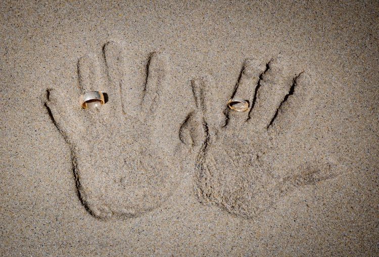 Hands in the sand Wife Husband Lasting Print Love Beach Together Wedding Ring Handprint Sand Day No People Full Frame Textured  Outdoors Close-up Nature Beach