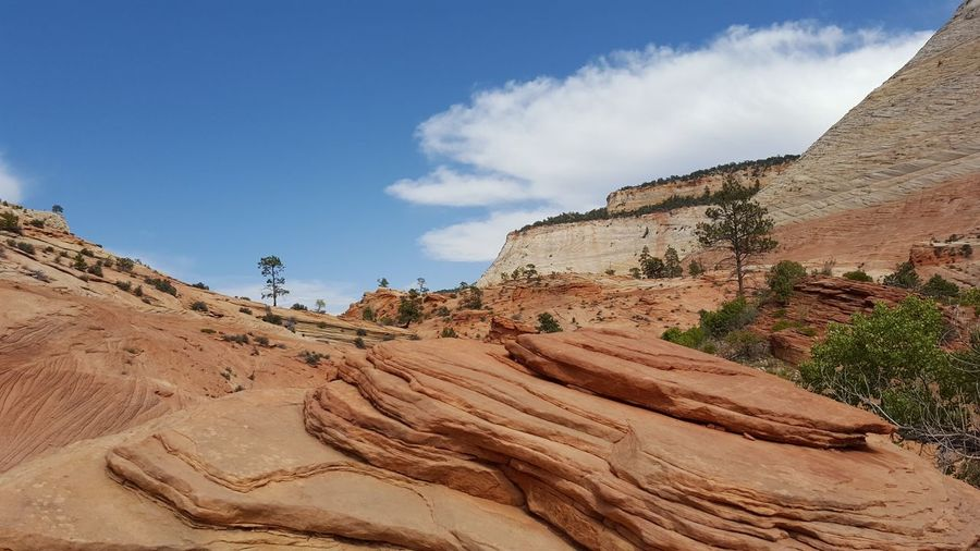 Scenic View Of Rock Formation Against Sky At Zion National Park