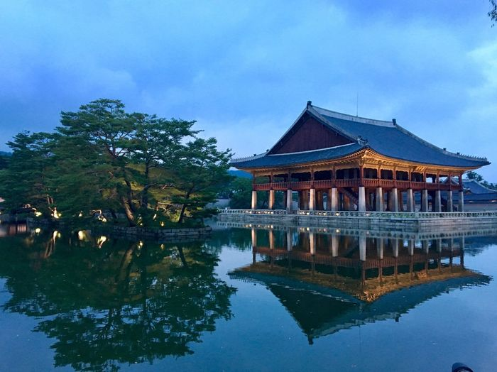 Seoul Architecture Reflection Water Lake Korean Traditional Architecture