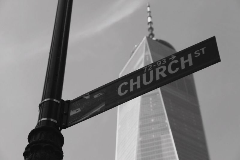 Heaven Backgrounds High Manhattan New York America Building Black And White Historic One World Trade Center Text Day Sky Low Angle View Architecture Built Structure Outdoors Building Exterior Road Sign