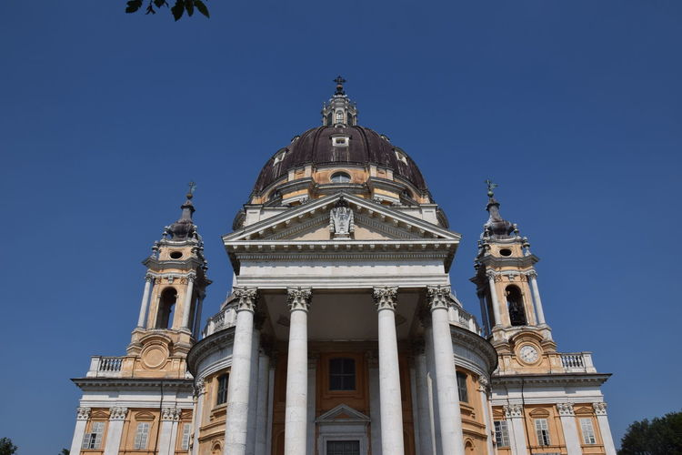 Low Angle View Of Basilica Of Superga Against Clear Blue Sky