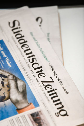 Berlin, Germany - February 15, 2018: Cover page of the German daily newspaper Süddeutsche Zeitung (German for South German Newspaper), published in Munich, Bavaria German Newspapers Politics Press Reading Close-up Communication Culture Germany Information Mass Media Media Newspaper No People Süddeutsche Zeitung