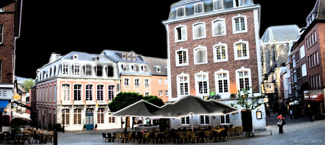Aachen Aachen Panorama Architecture Building Exterior Built Structure City City Architecture People Night Colorful Colorful City Foto Art House Mideval Town Night Photography Nightlife Outdoors Real People Residential Building Tourist Attraction  Tourist Destination Town