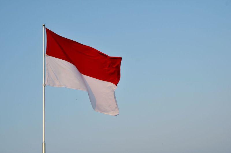 Indonesian Flag INDONESIA Indonesia Flag Indonesian Flag ASIA Red White Red And White Red Flag Blue Sky National Icon Fluttering Flag Pole Identity National Flag Symbolism Pole Patriotism Spread Wings Blue Background