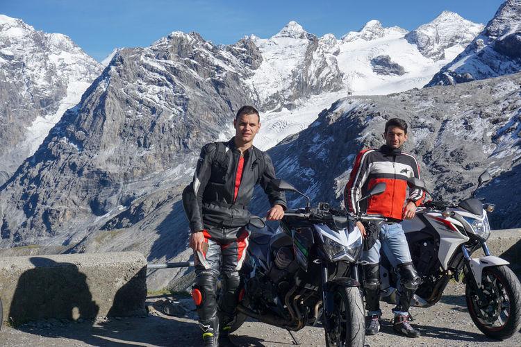 Men on snowcapped mountain