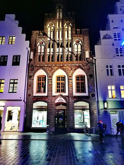 Façade Architecture Illuminated Night City No People Outdoors Travel Destinations Rostock City Library Mecklenburg-Vorpommern Germany🇩🇪 Fascade Illumination Gabled House Gable Houses Late Gothic Style Kröpeliner Straße