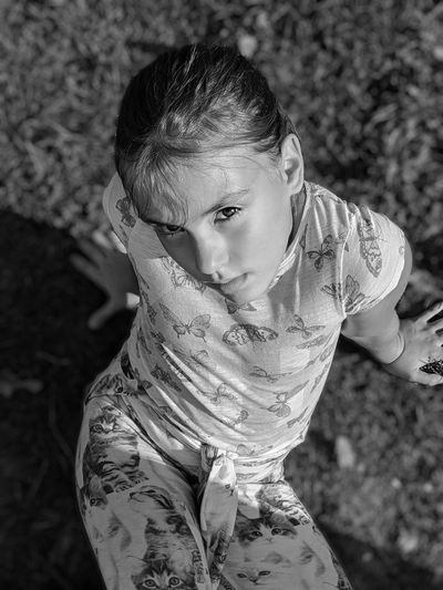 High angle portrait of a girl