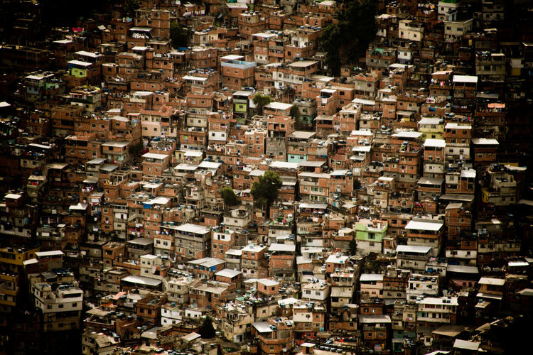 High angle view of buildings in city. rocinha.