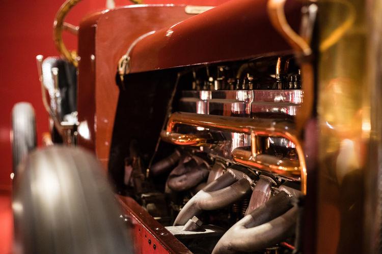Cité de l'Automobile Antique Car Brass Car Close-up Coppet Illuminated Indoors  Old Car