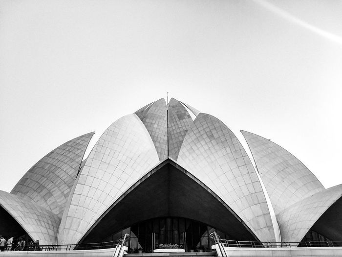 Lotus Temple New Delhi EyeEm Selects Architecture Built Structure Building Exterior Sky Low Angle View No People Day Nature Clear Sky Copy Space Outdoors Shape Triangle Shape Building Design City Travel Destinations Digital Composite High Section Textured