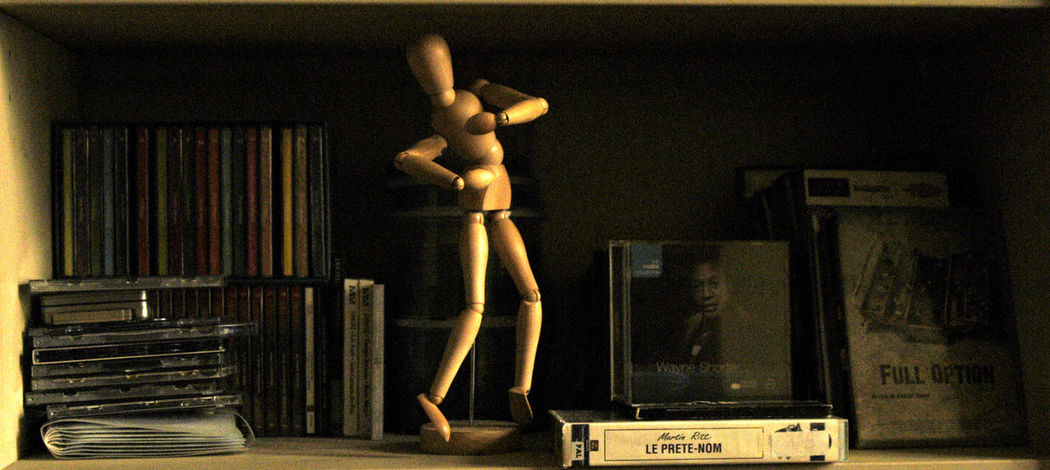 Articulated Mannequin CDs Dvds Family Life Indoors  No People Personal Style Shelf Vhs Tapes