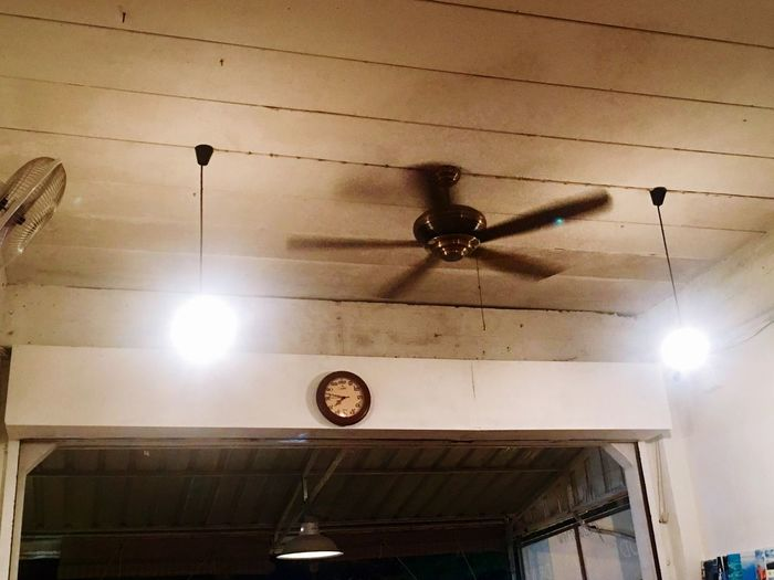 Low Angle View Ceiling Ceiling Fan Electricity  Indoors  Hanging Electric Fan
