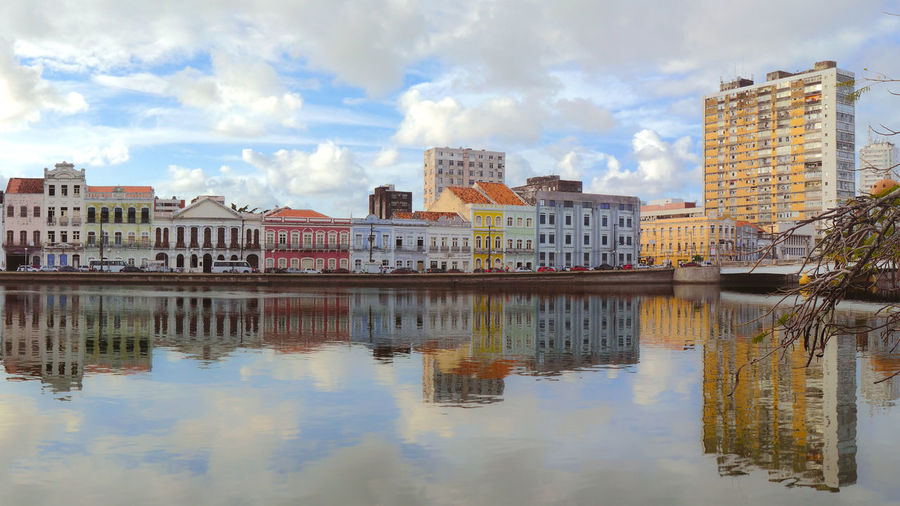 Building Exterior Reflection Architecture Water Cloud - Sky Built Structure Sky Waterfront Building City Nature No People Residential District River Day Outdoors Travel Destinations History Apartment Pernambuco