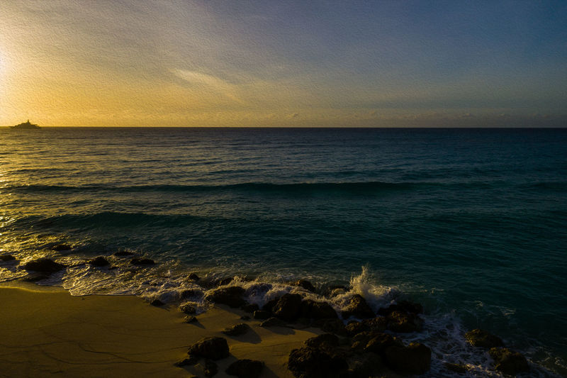Into the Sun Bimini Sea Water Sky Horizon Over Water Horizon Sunset Scenics - Nature Beauty In Nature Beach Tranquility Land Idyllic Outdoors Wave Motion No People Cloud - Sky Nature Tranquil Scene Rock Travel Destinations
