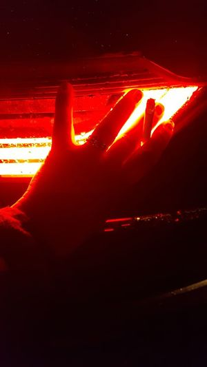 Red Orange Color Illuminated Night Close-up Hand Smoke Car Light