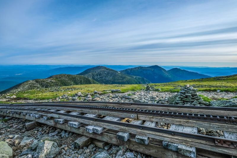 Cog Railroad- Mt Washington Cog Railway Mt. Washington Landscape Railroad Track Sky Cloud - Sky Nature Environment Scenics - Nature Rail Transportation Mountain Range Beauty In Nature Travel Summer Road Tripping