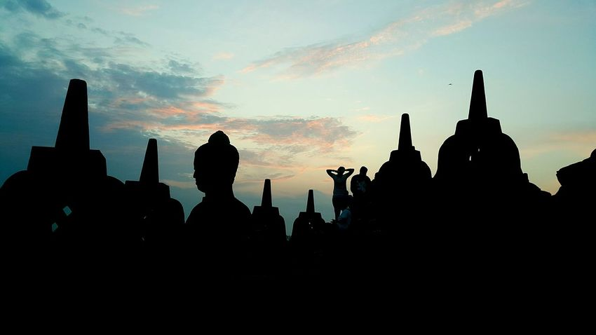 Borobudur, Merapi mountain and I Architecture Travel Destinations Business Finance And Industry Sunset Religion Statue Spirituality Silhouette Built Structure Urban Skyline Sculpture Building Exterior Cityscape Outdoors Old Ruin Ancient Civilization No People Day City Borobudur Temple, Indonesia Sunrise Silhouette Borobudur Temple Sunrise N Sunsets Worldwide  Borobudur Wonderful Indonesia