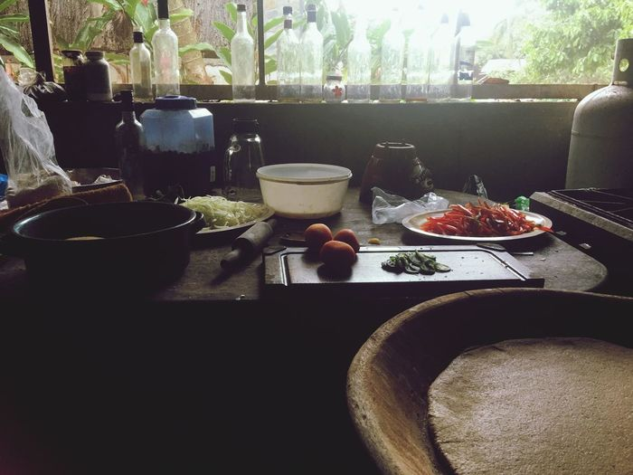 Rustic kitchen cooking Vegetarian Food Vegan Dough Tomato Onion Pizza Food And Drink Food Table Freshness Healthy Eating Bowl Still Life Ready-to-eat Kitchen Utensil Breakfast Meal No People Window Wellbeing Plate Indoors  Day Vegetable Sunlight Crockery