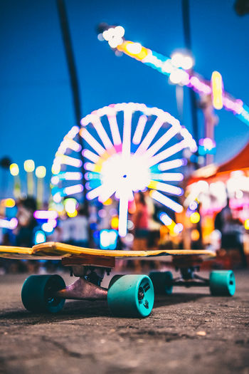 SK8R Amusement Park Amusement Park Ride Architecture Arts Culture And Entertainment Blue Building Exterior City Close-up Focus On Foreground Illuminated Multi Colored Nature Night Nightlife No People Outdoors Selective Focus Sport Street Transportation My Best Photo