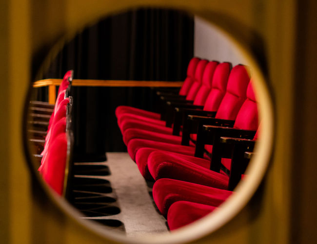 Close-up of empty seats