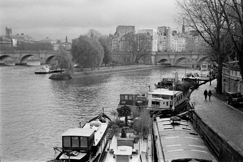 Black And White Photography Blackandwhite Boats And Water Couple Walking Film Film Photography Filmisnotdeath Seine River Banks