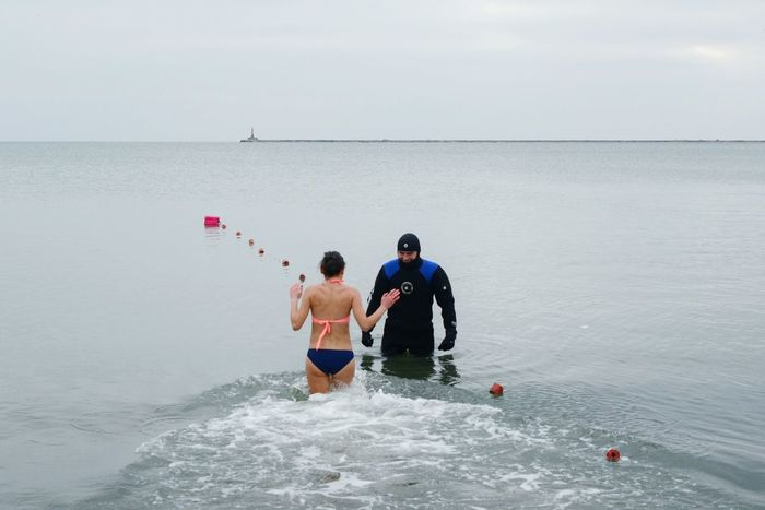 Ukraine Outdoor Photography Cold Temperature Cold Day Day Man Motion Azov Sea Friendship Adventure Aquatic Sport Enjoyment Togetherness Swimming Outdoors Leisure Activity Fun Sea Sport Epiphany Water Cold Girl Real People Two People