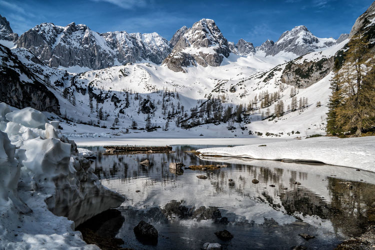 Seebensee and Drachekopf in spring Cold Temperature Winter Snow Water Scenics - Nature Beauty In Nature Mountain Tranquility Tranquil Scene Frozen Idyllic No People Snowcapped Mountain Day Nature Sky Non-urban Scene Mountain Range Ice Outdoors Powder Snow Spring Alps Austria Tyrol Frozen Lake Reflections The Great Outdoors - 2019 EyeEm Awards