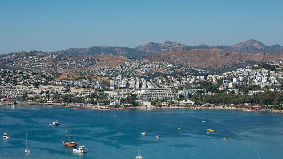 Turkish city of bodrum on the turkish coast of the aegean sea