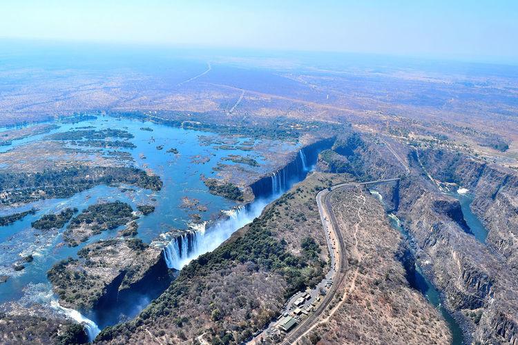 Aerial view of victoria falls and zambezi river