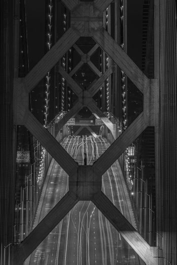 Black and white details of bay bridge at night