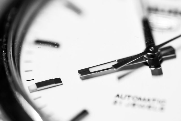 Black Black & White Black And White Blackandwhite Clock Clockwise Close Up Close-up Contrast Defocused Extreme Close Up Extreme Close-up Focus On Foreground Glass - Material Indoors  Macro Monochrome Monochrome Photography No People Selective Focus Single Object TakeoverContrast Time Watch