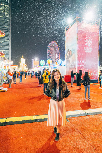 Hong Kong Standing Well-dressed Woman Enjoyment Illuminated Night Outdoors Smile Young Adult